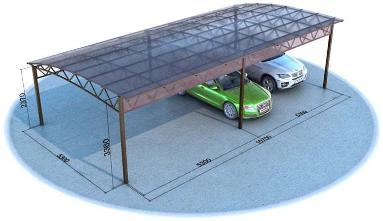 навес для машины из поликарбоната, навесы для авто