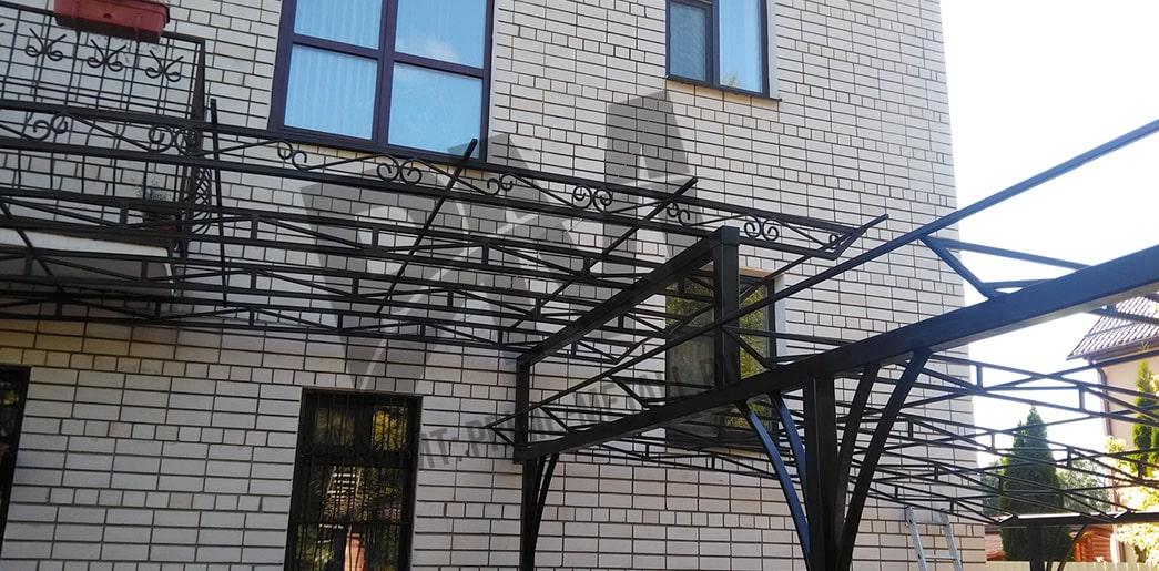 навесы смоленск прайм металл, навесы перед домом из поликарбоната фото